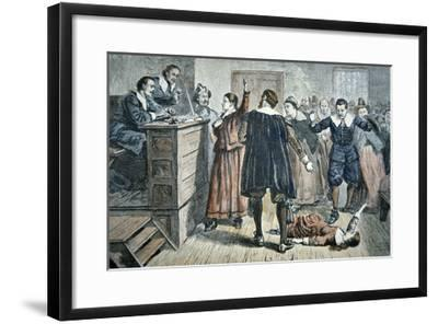 Witches of Salem - a Girl Bewitched at a Trial in 1692 (Colour Litho)-American-Framed Giclee Print