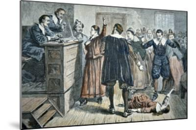 Witches of Salem - a Girl Bewitched at a Trial in 1692 (Colour Litho)-American-Mounted Giclee Print