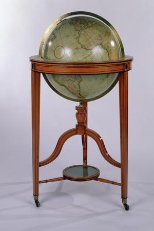 A Regency Terrestrial Library Globe on Mahogany Stand, 1806 (Mixed Media)-English-Stretched Canvas Print