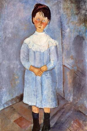 Girl in Blue, 1918-Amedeo Modigliani-Stretched Canvas Print