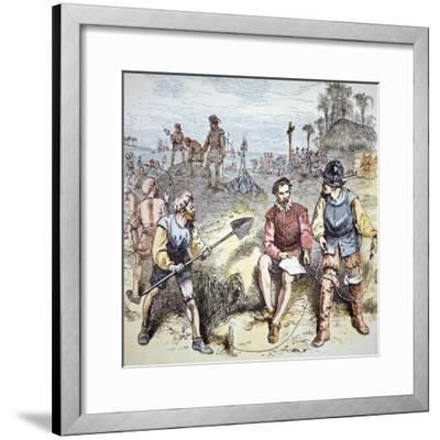The Founding of St. Augustine in Florida by the Spanish in 1565 (Colour Litho)-American-Framed Giclee Print