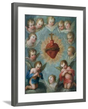 Sacred Heart of Jesus Surrounded by Angels, c.1775-Jose de or Joseph Paez-Framed Giclee Print