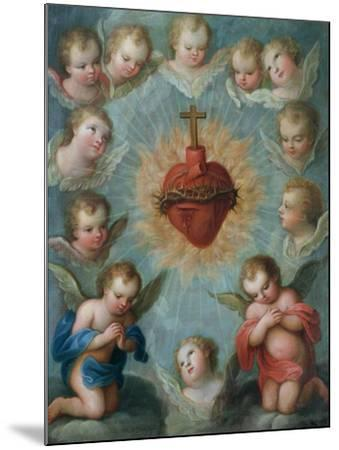 Sacred Heart of Jesus Surrounded by Angels, c.1775-Jose de or Joseph Paez-Mounted Giclee Print