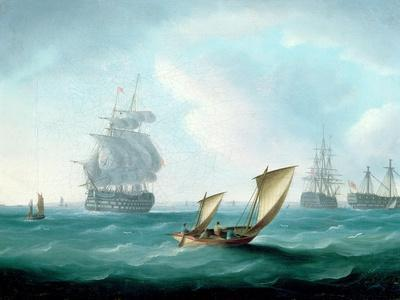 British Men-O'-War and a Hulk in a Swell, a Sailing Boat in the Foreground-Thomas Buttersworth-Stretched Canvas Print