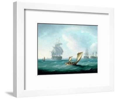 British Men-O'-War and a Hulk in a Swell, a Sailing Boat in the Foreground-Thomas Buttersworth-Framed Premium Giclee Print