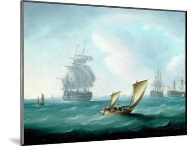 British Men-O'-War and a Hulk in a Swell, a Sailing Boat in the Foreground-Thomas Buttersworth-Mounted Premium Giclee Print