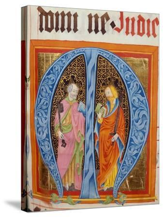 Historiated Initial 'M' with Saints Peter and Paul-German-Stretched Canvas Print