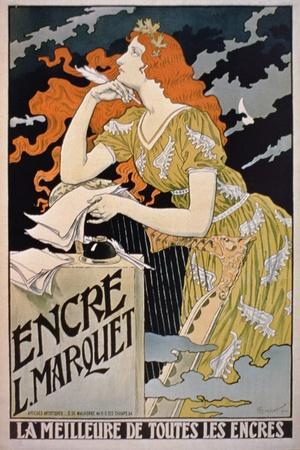 Poster Advertising 'L. Marquet Ink, the Best of All Inks', 1892 (Colour Litho)-Franz Grassel-Stretched Canvas Print