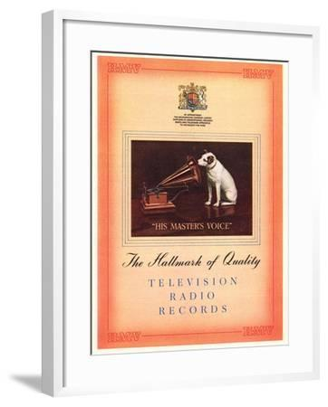 Advert for 'His Master's Voice', Illustration from the 'South Bank Exhibition' Catalogue-English-Framed Giclee Print