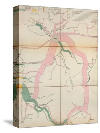 Map Representing the Approximate Tonnage of Wines and Spirits in Circulation in France in 1857-Charles Joseph Minard-Stretched Canvas Print