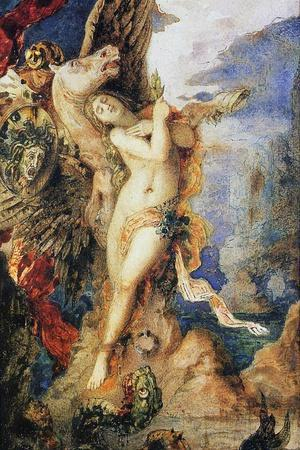 Perseus and Andromeda, C.1867-69 (W/C and Pen on Paper)-Gustave Moreau-Stretched Canvas Print