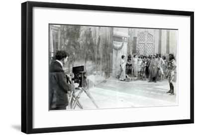 Actors from the Academie and Comedie Francaise Filming the 'Retour D'Ulysse' in 1909 (B/W Photo)-French Photographer-Framed Giclee Print
