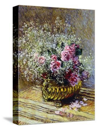 Roses in a Copper Vase, 1878-Claude Monet-Stretched Canvas Print