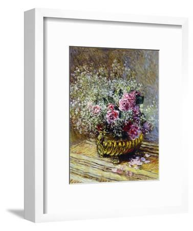 Roses in a Copper Vase, 1878-Claude Monet-Framed Premium Giclee Print