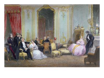 Family Scene, C.1840 (Colour Litho)-Eugene-Louis Lami-Framed Giclee Print