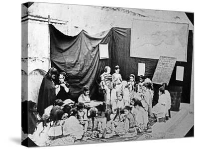 Girls' School in Algiers, C.1860 (B/W Photo)-Jacques Antoine Moulin-Stretched Canvas Print