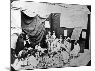 Girls' School in Algiers, C.1860 (B/W Photo)-Jacques Antoine Moulin-Mounted Giclee Print