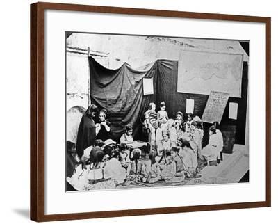 Girls' School in Algiers, C.1860 (B/W Photo)-Jacques Antoine Moulin-Framed Giclee Print