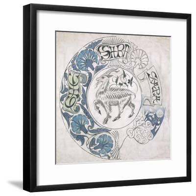 sara', Circular Design with Goat (Gouache and Pencil on Paper)-William De Morgan-Framed Giclee Print