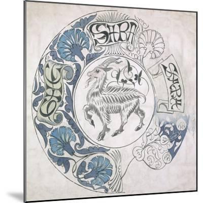 sara', Circular Design with Goat (Gouache and Pencil on Paper)-William De Morgan-Mounted Giclee Print