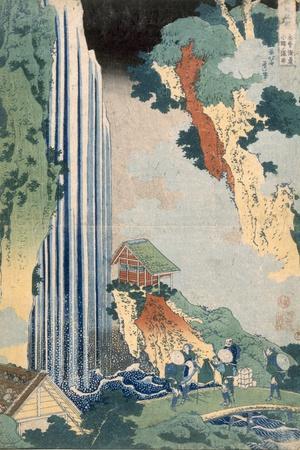 Ona Waterfall on the Kisokaido, 1827 (Colour Woodblock Print)-Katsushika Hokusai-Stretched Canvas Print