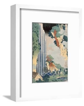 Ona Waterfall on the Kisokaido, 1827 (Colour Woodblock Print)-Katsushika Hokusai-Framed Premium Giclee Print