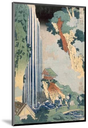 Ona Waterfall on the Kisokaido, 1827 (Colour Woodblock Print)-Katsushika Hokusai-Mounted Premium Giclee Print