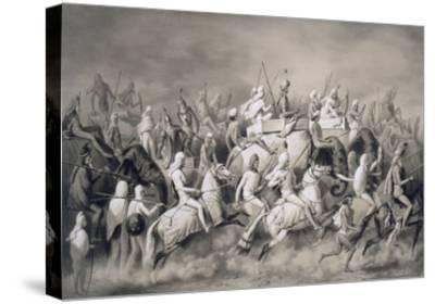 Chir Singh, Maharajah of the Sikhs and King of the Punjab with His Retinue Hunting Near Lahore-A. Soltykoff-Stretched Canvas Print
