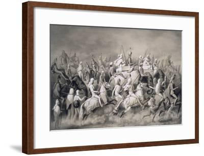 Chir Singh, Maharajah of the Sikhs and King of the Punjab with His Retinue Hunting Near Lahore-A. Soltykoff-Framed Giclee Print