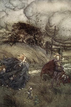 And Now They Never Meet in Grove or Green, by Fountain Clear or Spangled Starlight Sheen-Arthur Rackham-Stretched Canvas Print