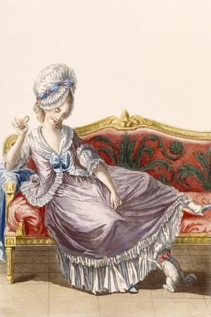 Cavaco a La Polonaise, Engraved by Dupin, Plate from 'Galeries Des Modes Et Costumes Francais'-Pierre Thomas Le Clerc-Stretched Canvas Print