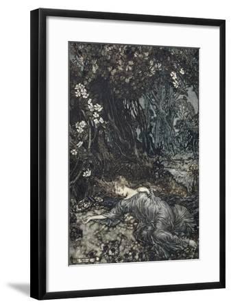 Titania Lying Asleep, Illustration from 'Midsummer Nights Dream' by William Shakespeare, 1908-Arthur Rackham-Framed Giclee Print