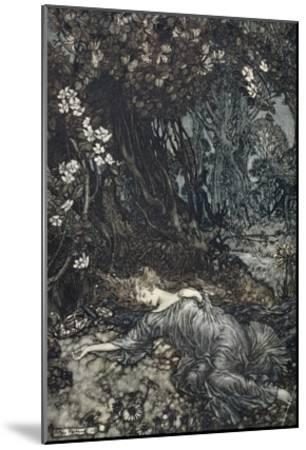 Titania Lying Asleep, Illustration from 'Midsummer Nights Dream' by William Shakespeare, 1908-Arthur Rackham-Mounted Giclee Print