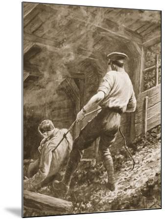 Lance-Corporal Clapson Dragging an Officer, Who Had Been Gassed, Out of a Mine (Litho)-Alfred Pearse-Mounted Giclee Print