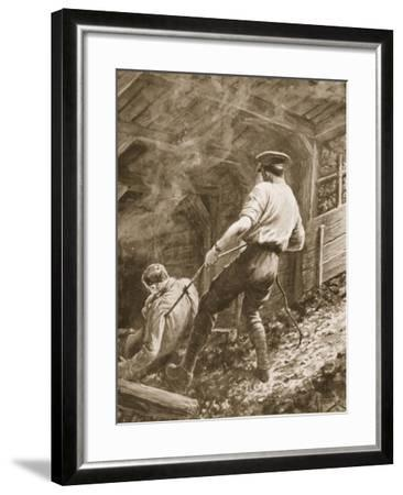 Lance-Corporal Clapson Dragging an Officer, Who Had Been Gassed, Out of a Mine (Litho)-Alfred Pearse-Framed Giclee Print