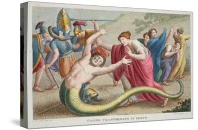 Cadmus into a Serpent, Book IV, Illustration from Ovid's Metamorphoses, Florence, 1832-Luigi Ademollo-Stretched Canvas Print