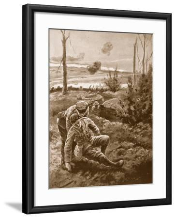 The Rev. W.R.F. Addison Carries a Wounded Man to the Cover of a Trench-H. Ripperger-Framed Giclee Print