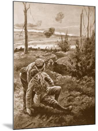 The Rev. W.R.F. Addison Carries a Wounded Man to the Cover of a Trench-H. Ripperger-Mounted Giclee Print