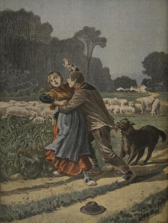 Shepherdess Defended by Her Dog, Illustration from 'Le Petit Journal: Supplement Illustre'-Henri Meyer-Stretched Canvas Print