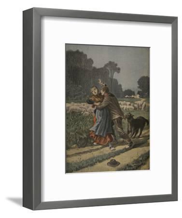 Shepherdess Defended by Her Dog, Illustration from 'Le Petit Journal: Supplement Illustre'-Henri Meyer-Framed Premium Giclee Print