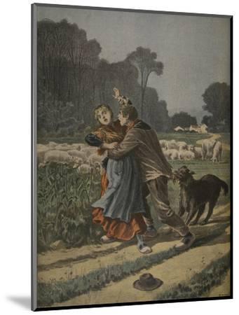 Shepherdess Defended by Her Dog, Illustration from 'Le Petit Journal: Supplement Illustre'-Henri Meyer-Mounted Premium Giclee Print