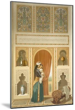 Cairo: Interior of the Domestic House of Sidi Youssef Adami: a Woman Standing in a Room-Emile Prisse d'Avennes-Mounted Giclee Print