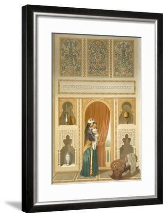 Cairo: Interior of the Domestic House of Sidi Youssef Adami: a Woman Standing in a Room-Emile Prisse d'Avennes-Framed Giclee Print