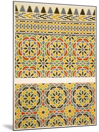 Geometric Ceramic (Faience) Decoration from the Mosque of Cheykhoun, 19th Century (Print)-Emile Prisse d'Avennes-Mounted Giclee Print