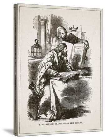 King Alfred Translating the Psalms (Litho)-English-Stretched Canvas Print