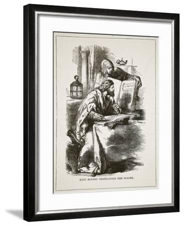 King Alfred Translating the Psalms (Litho)-English-Framed Giclee Print