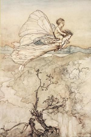 ..And Her Fairy Sent to Bear Him to My Bower in Fairy Land-Arthur Rackham-Stretched Canvas Print