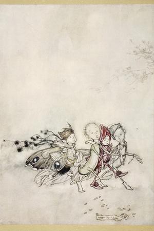 Enter Peasebottom, Cobweb, Moth, and Mustardseed-Arthur Rackham-Stretched Canvas Print