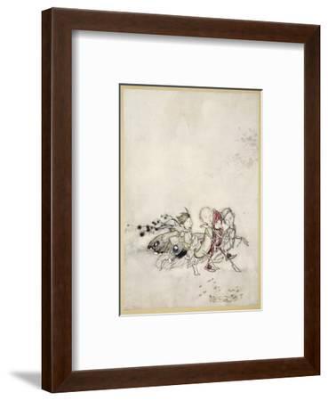 Enter Peasebottom, Cobweb, Moth, and Mustardseed-Arthur Rackham-Framed Premium Giclee Print