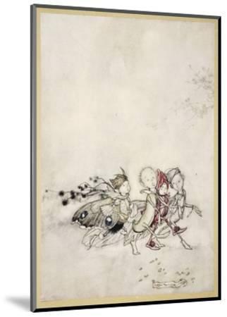 Enter Peasebottom, Cobweb, Moth, and Mustardseed-Arthur Rackham-Mounted Premium Giclee Print